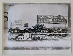 Photo ancienne 18x24 affiche PAS PLUS DE 40 H DE BARRICADES mai 68 1968 63