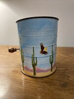 Vintage BROMWELL'S FLOUR SIFTER White w/ Hand Painted Desert Eagle Cactus 3 Cups