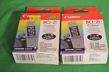 2 x Genuine Canon bci-21c colore inchiostro originale BCI 21 C COPPIA Twin due