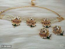 Gold Plated Pearl Choker Necklace Set Bollywood Bridal Indian Jewelry Set
