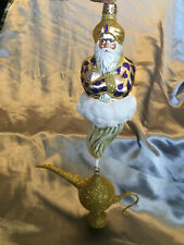 Magnificent Polish Glass Aladdin's Lamp & Genie Christmas Mardi Gras Ornament