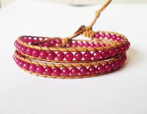 2 wrap Ruby Bracelets,Stone bracelets,Mens bracelets,Leather bracelets