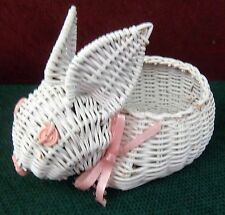 """WHITE WICKER BUNNY WITH PINK ACCENTS TRINKET OR CANDY HOLDER 3 1/2"""" X 7"""""""