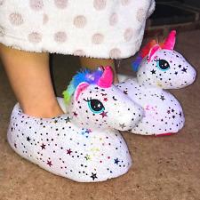 UNICORN SLIPPERS Womens Girls Novelty Plush Mother Daughter Cute Gift Rainbow