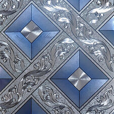 Blue 3D grid abstract Feature wallpaper Hotel Bedroom Vinyl Mural Rolls GOLD