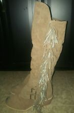 Women's Fringe Tassel Buckle Over The Knees Tall Boots Size 9