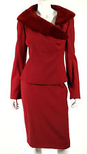 RICHARD TYLER COUTURE NWT Red Wool & Sheared Mink Fur Collar Suit 12