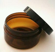 Wholesale Bulk 5 x 250g Amber Large Plastic Cosmetic Jar Packaging + Black Cap