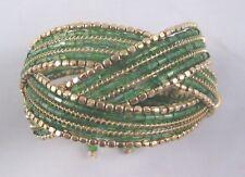 Stunningly Beautiful Green & Gold Woven Beaded Cuff Bracelet #B1315