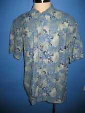 LL Bean Nylon Floral Hawaiian Camp Shirt L Mint
