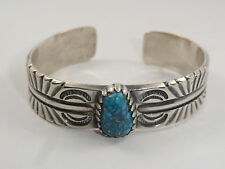 NAVAJO TRIBAL OLD PAWN SIGNED TP GEM GRADE SPIDERWEB TURQUOISE STERLING BANGLE