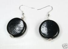 CHUNKY BLACK opaque MURANO GLASS drop EARRINGS