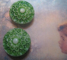 "Set of 4 VTG 1/2"" Lt Green Lace Painted Glass Buttons ~Pre WWII~new/old stock"