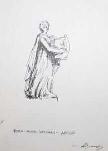 Vintage Impressionist Ink Painting Apollo Signed