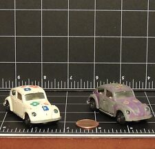 Vintage lot 2 old 1/64 Yatming Volkswagen VW Bug Beetle Flower Power Hong Kong