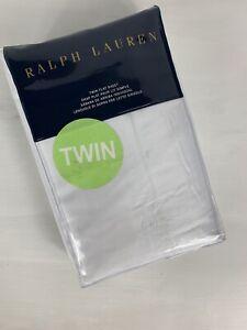 Ralph Lauren Solid Sateen Twin Flat Sheet RL 624 Deco White 100% Cotton NEW
