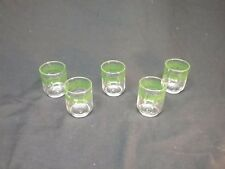 Set of 5 Libbey Mid-Century Modern Green Floral Pattern Juice Glasses 6 oz