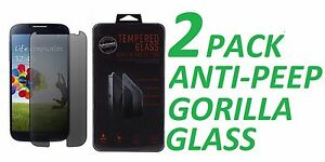 2x Anti-Spy Privacy Tempered Glass Screen Protector Film For Samsung Galaxy S4