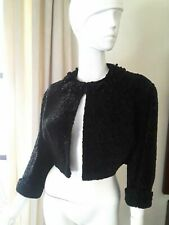 HATTIE CARNEGIE CROP Fur Blazer Broadtail Lamb Bolero 1950s Black Jacket sz XS S