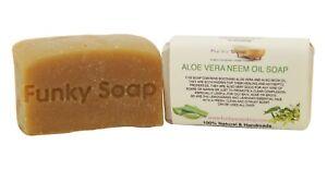 1 piece Aloe Vera & Neem Oil Soap, 65g, 100% Natural Handmade