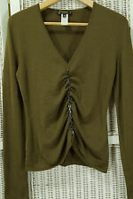 VERSACE Vintage 1990s Olive Khaki Jumper M Wool Chain Trimmed 90s Clubwear Italy