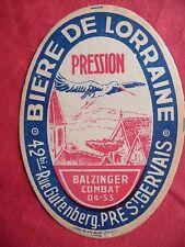 Ancienne étiquette de bière DE LORRAINE PRE SAINT GERVAIS  beer label bieretiket
