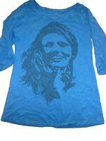 Esmara tolles Longshirt Gr. S 36 / 38 blau mit coolem Druckmotiv !!