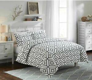 Black & White Geometric Print 100% Cotton Bedding Set / Duvet Cover Set All Size