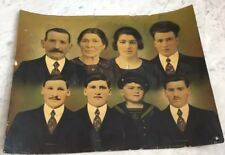 Unusual Enlarged Crayon Photo Portrait Early 1900s Ethnic Family Fabric Montage