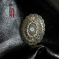 Broche Ovale Turquoise Fleur Metallique Vintage Original Mariage Cadeau XZ 1