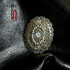 Broche Oval Turquesa Flor Metálico Vintage Original Matrimonio Regalo XZ 1