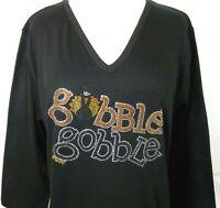 Large Knit Top Embellished Rhinestone & Stud Thanksgiving Gobble Gobble Turkey