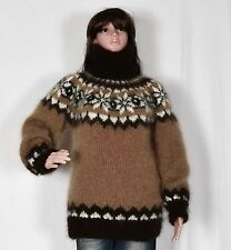 Hand Knitted Mohair Pullover, Brown Long Sweater, Turtlenecks * fuzzy Jumper