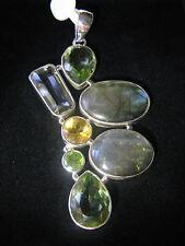 Huge Pendant Multi gemstone Labadorite Green Amethyst Citrine Peridot Silver