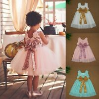 Infant Baby Girl Princess Dress Birthday Pageant Wedding Party Lace Tutu Dress