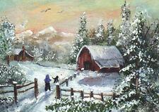 ACEO Miniature Art Painting Snowscape Winter Farm Barn Mountains Child  K.Manuel