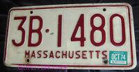 PLAQUE IMMATRICULATION USA MASSACHUSSETTS 1974