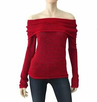 ESCADA Metallic Red Striped Off the Shoulder Knit Sweater Top 34 US 4 NEW