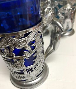 Nude Lady Handle Oriental Cups Mug Stein Holder Cobalt Blue Glass Art Deco
