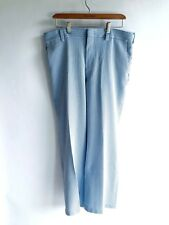 Vintage 1960s Mens Pants Seersucker Sz 36 Blue White Stripe Flat Front Summer