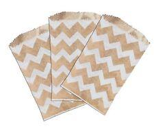 50 3x5 Mini Natural Kraft Amp White Chevron Flat Paper Treat Bags