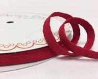 CLEARANCE Burgundy 15mm Cotton Herringbone Twill Tape 1mm Thick Tie BUY 1 2 4 8m