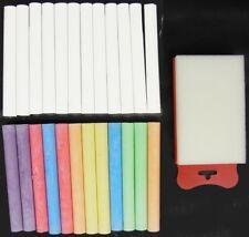 24 Stangen Kreide + Schwamm Tafelkreide Wandkreide Schulkreide weiß bunt farbig