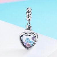 Tibetan 925 Silver Treasure Box Love Heart-shaped Charm Pendant with CZ Beads