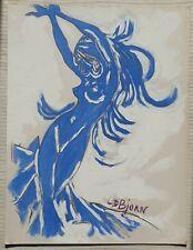 L D BJORN 1907-1989 (Dr Louis DONNET) original signed oil painting Female Dancer