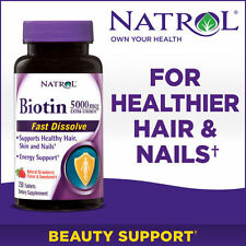 Natrol Biotin 5,000 mcg, 250 Fast Dissolve Tablets Hair Nails Skin Supplement