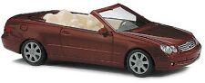 Busch #49400 Mercedes-Benz, Mb, Clk Cabrio (Convertible), dark Red. Ho 1:87