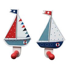 Set Of 2 Nautical Wooden Boat Peg Hooks U2013 Gisela Graham Wall Door Coat  Clothes