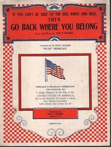 If You Can't Be True to the Red White and Blue 1940 Sheet Music