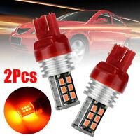 2 X T20 7443 15 RED LED DUAL FILAMENT CAR UTE BRAKE STOP TAIL LIGHT BULB 12V